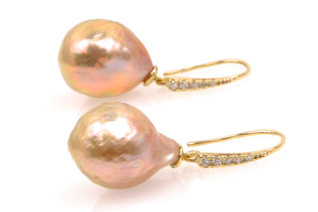 peach japan kasumi pearl and diamond earrings