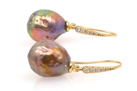 deep color japan kasumi pearl and diamond earrings