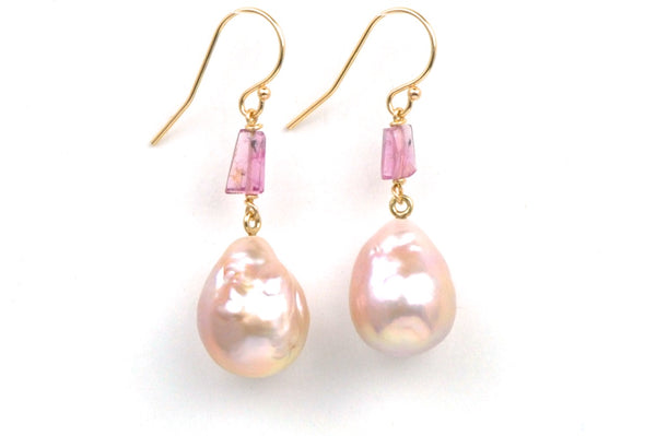 apricot japan kasumi pearl and pink tourmaline crystal earrings