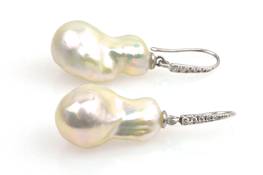 souffle pearl and diamond earrings