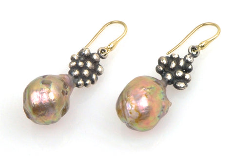 japan kasumi and silver mosaic pearl earrings