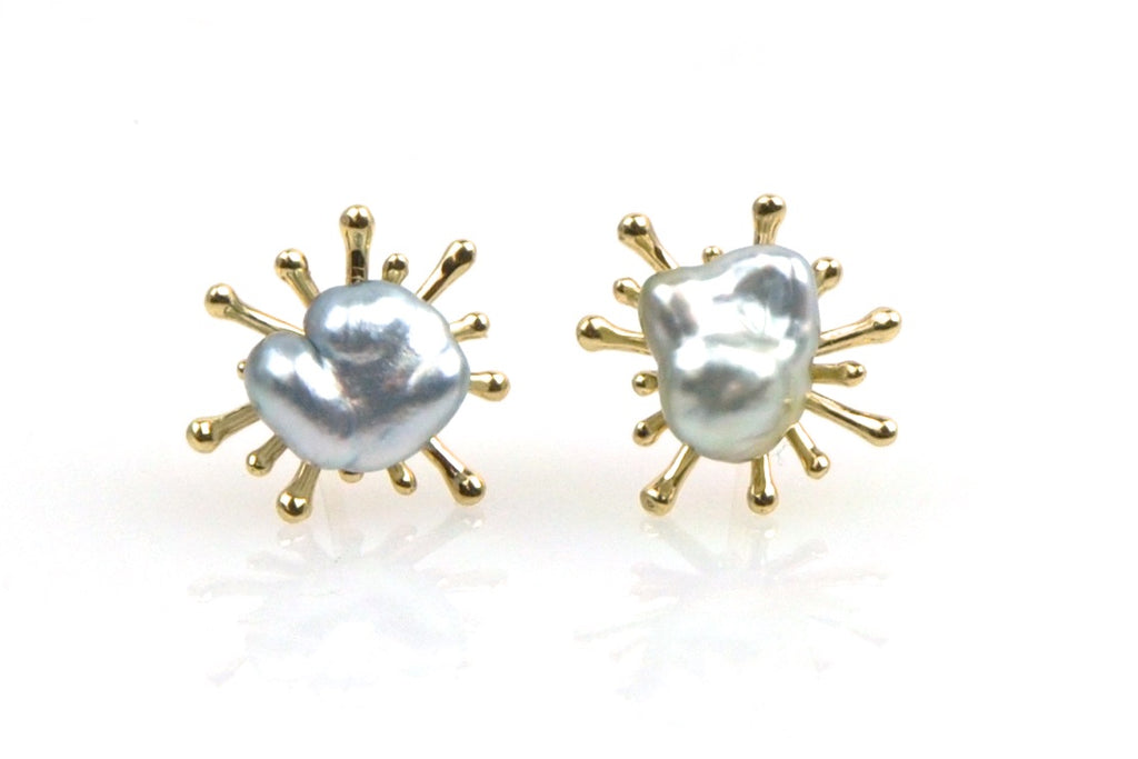 silver tahitian keshi starburst stud earrings