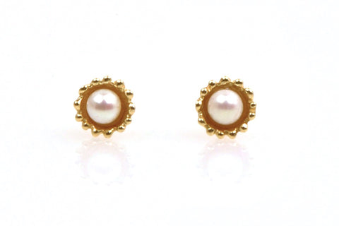 tiny nested pearl stud earrings