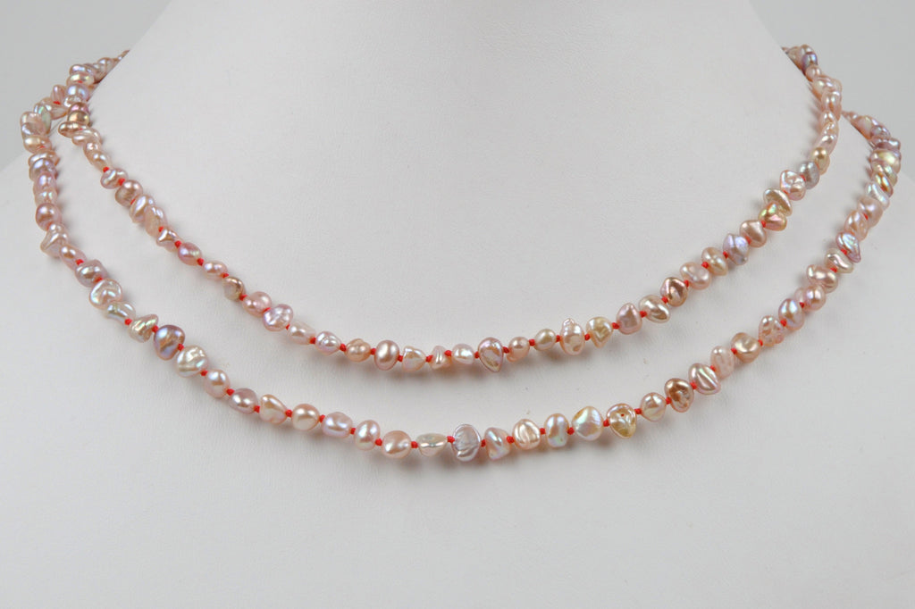 PINK PEARL AND CRIMSON KNOTS NECKLACE