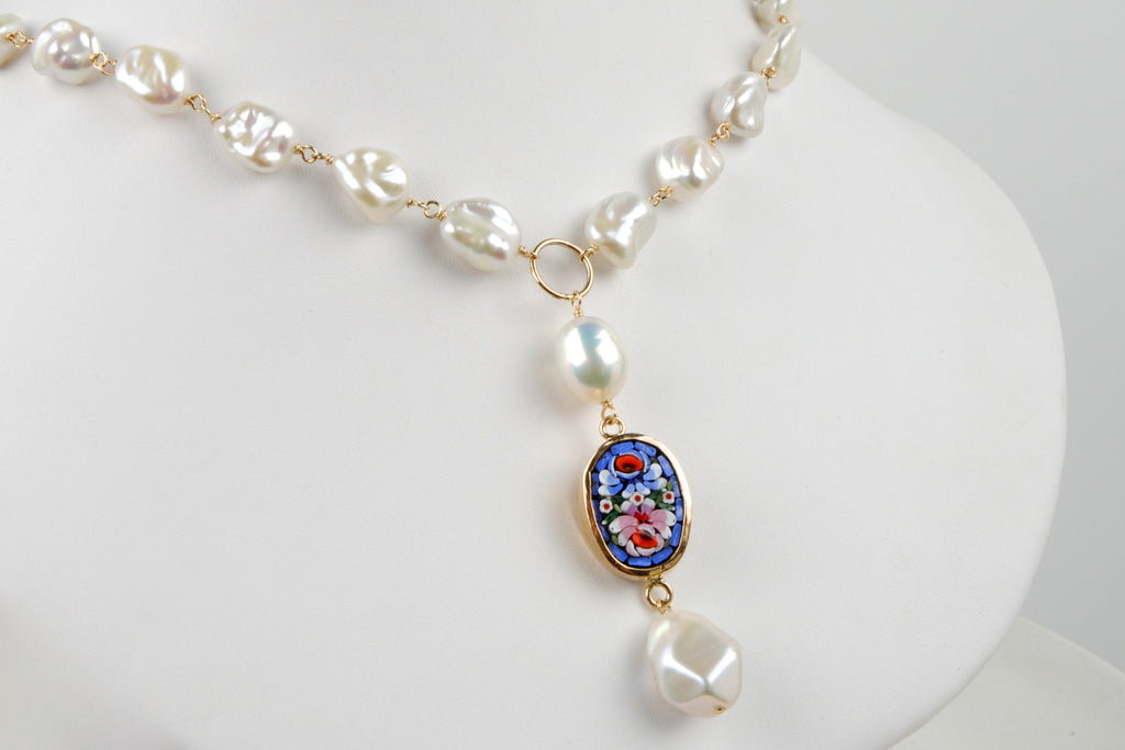 italian millefiori rose metallic luster pearl lariat necklace