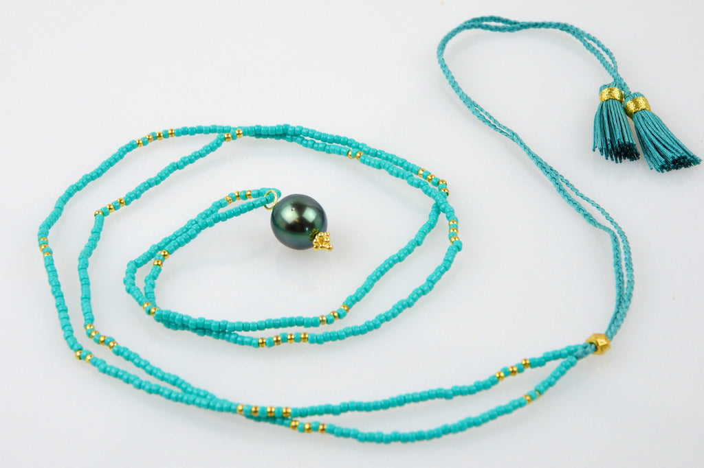 SEASIDE TAHITIAN PEARL PENDANT AND BEAD NECKLACE