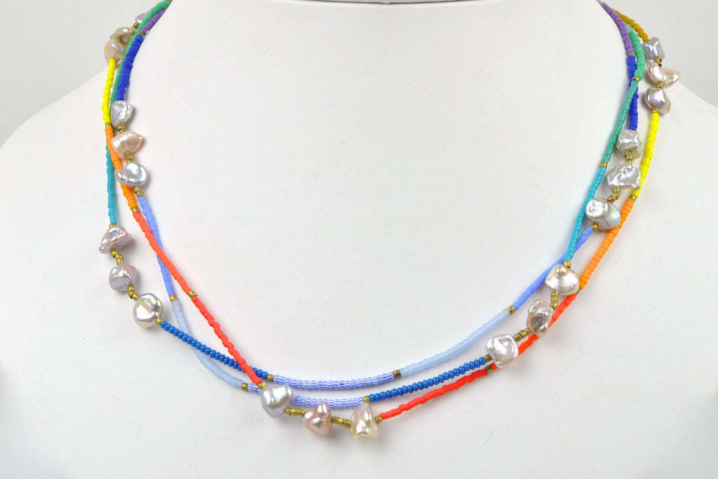 keshi pearls and rainbow beaded rope necklace