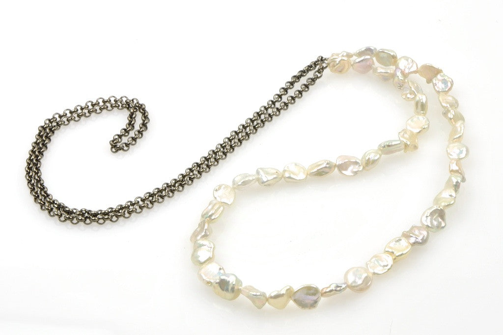 long shimmer pearl necklace
