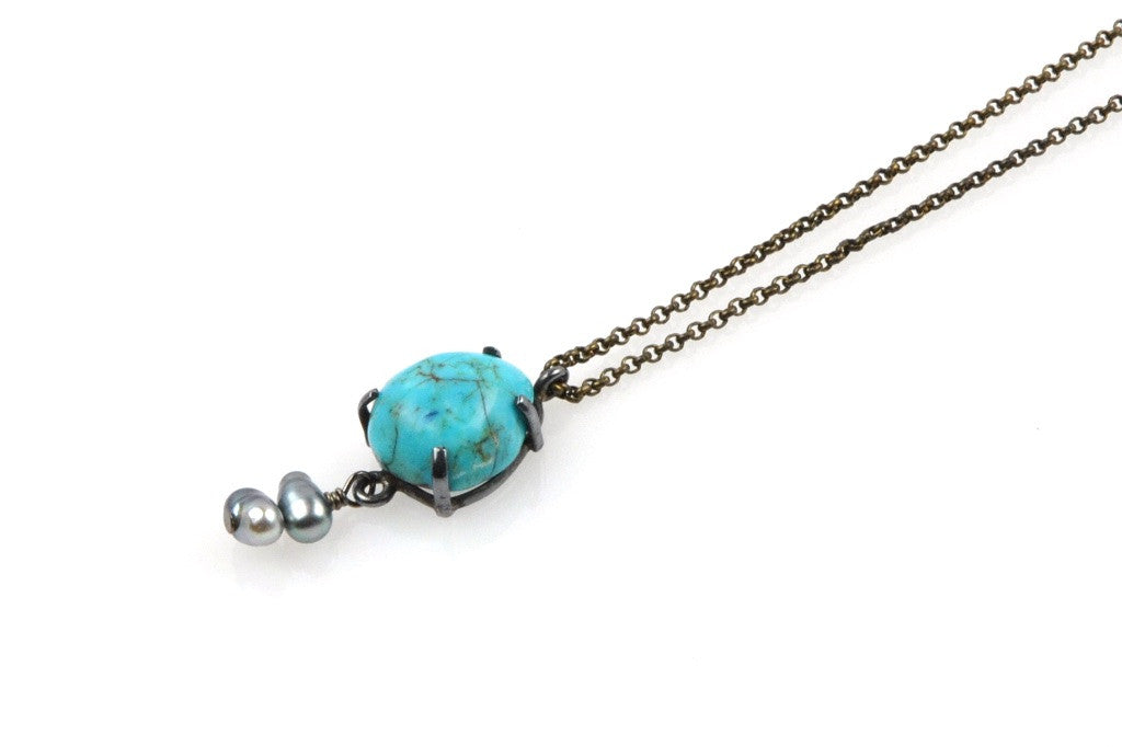 turquoise and tahitian keshi pendant necklace