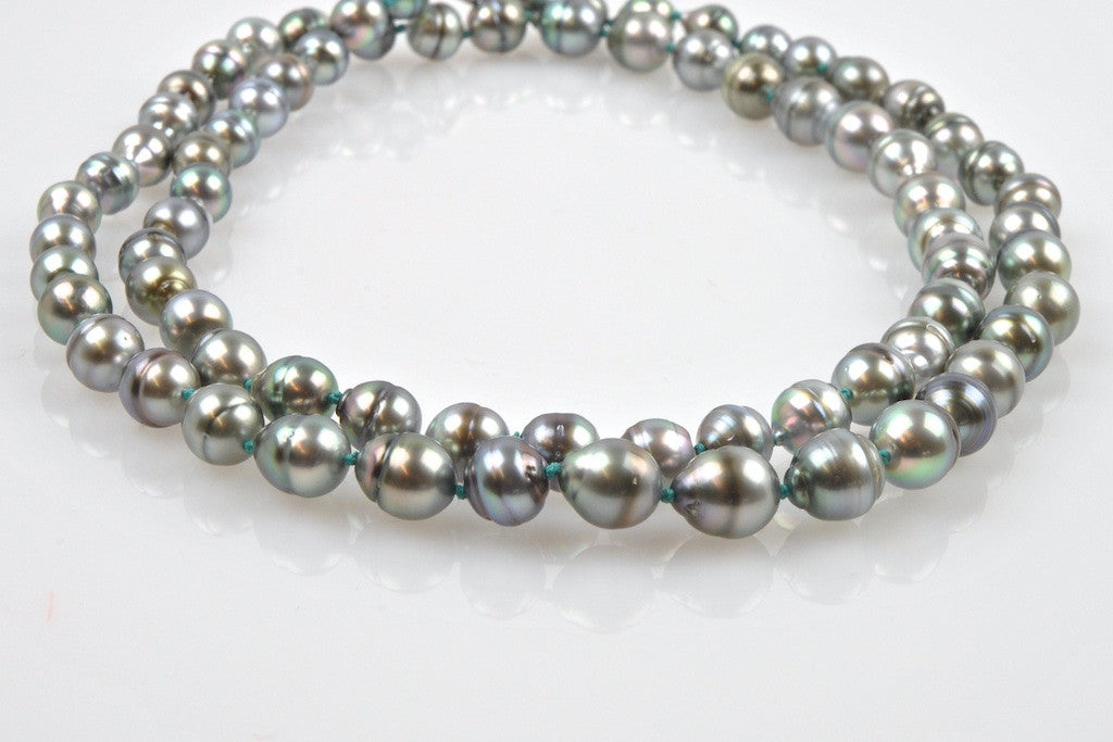 banded silver tahitian pearls with turquoise knots necklace