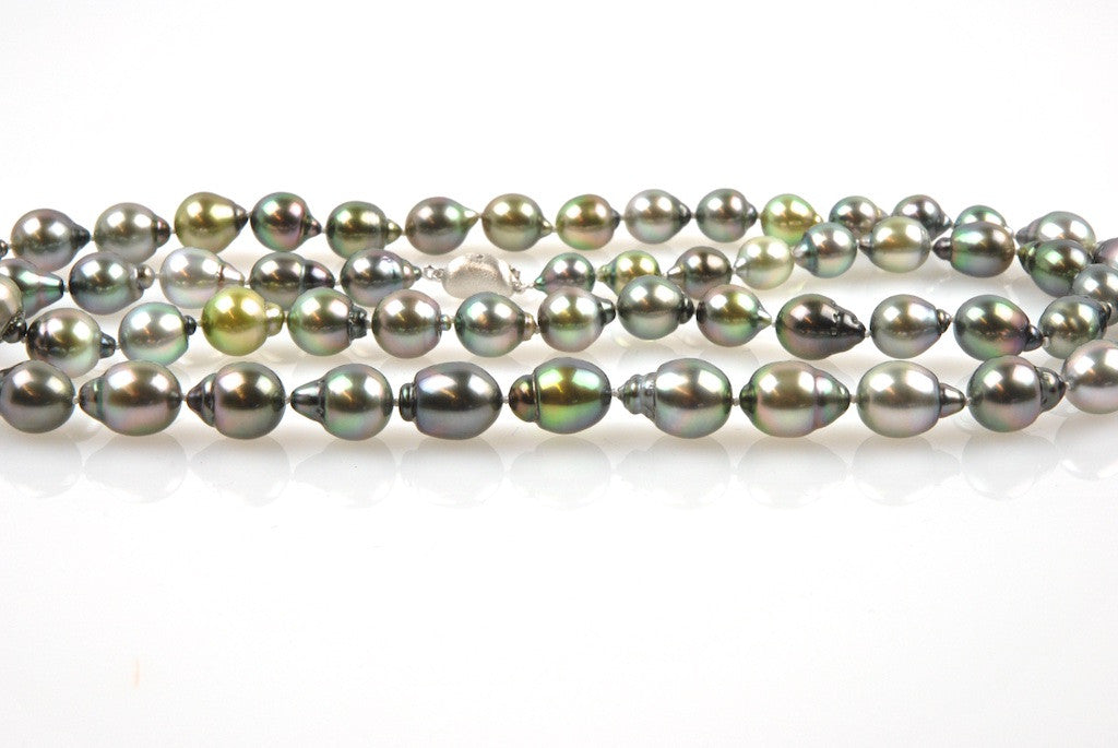 tahitian pearl drop medley necklace
