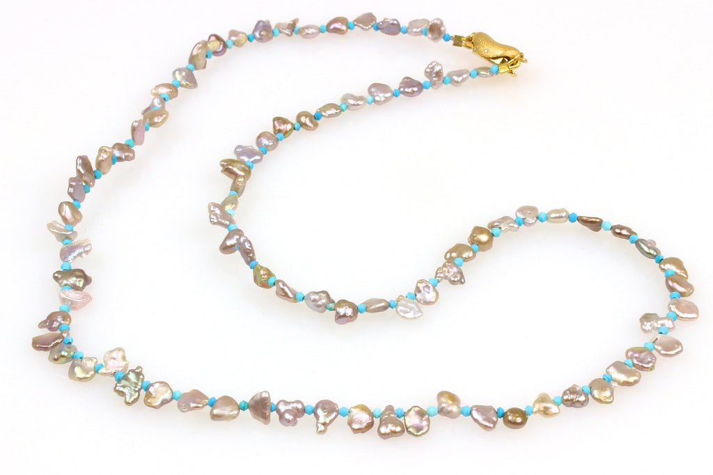 teeny tiny turquoise and keshi pearl necklace