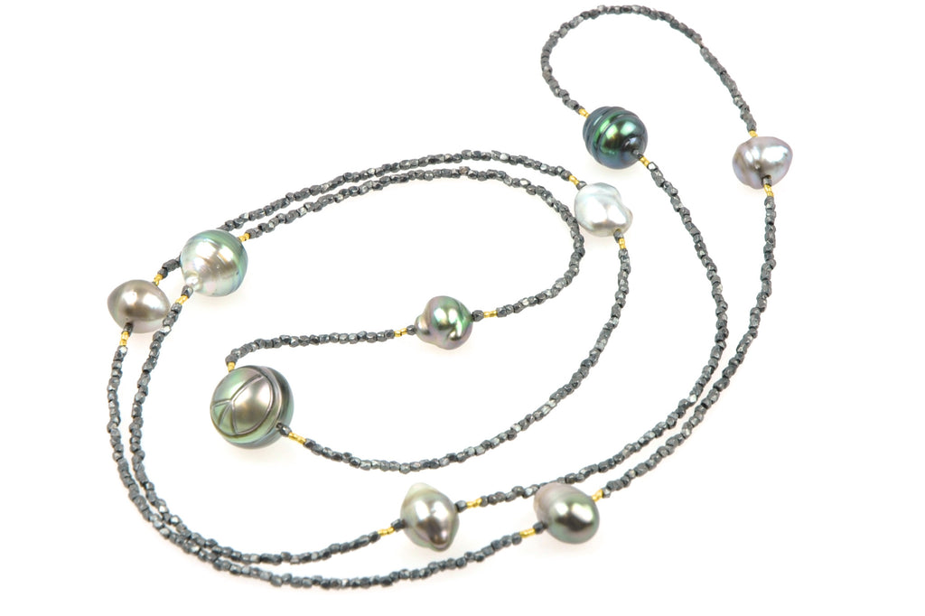 deep banded tahitian peace pearl necklace
