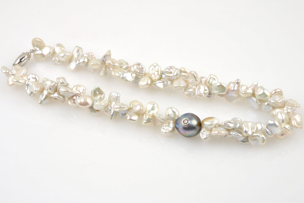 doublet pearl and bejeweled tahitian necklace