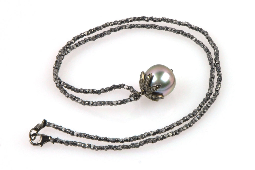 oxidized silver bead and diamond tahitian pendant necklace
