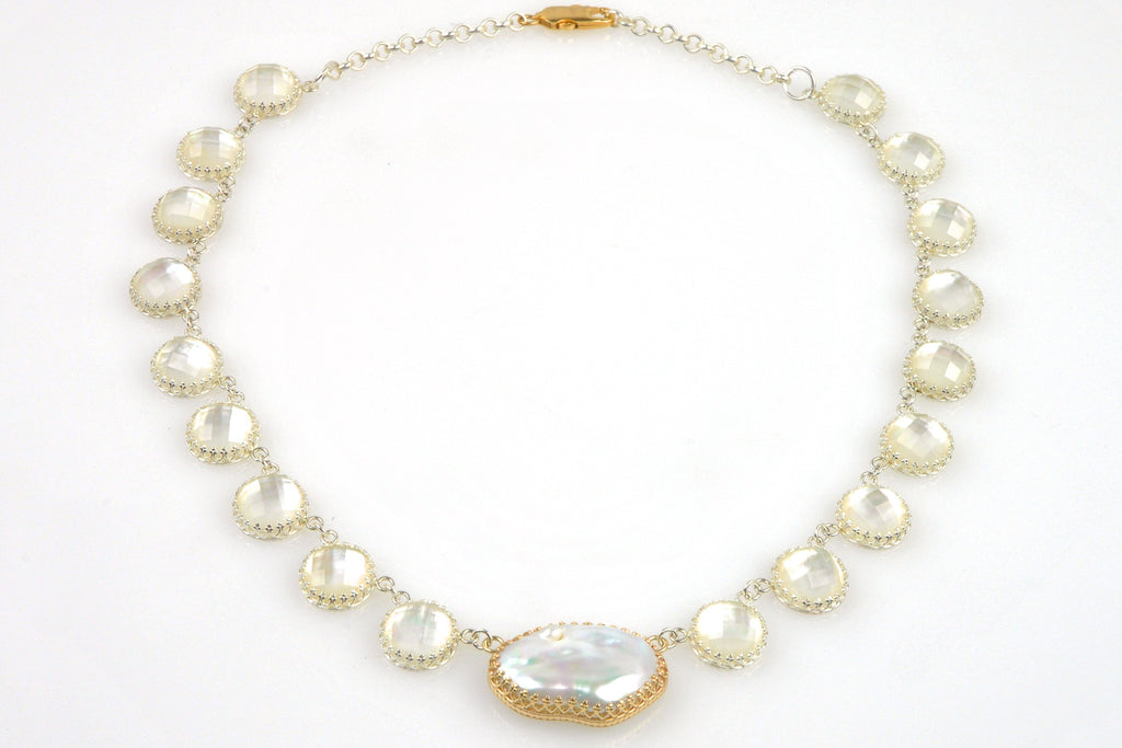 souffle and faceted mother of pearl necklace