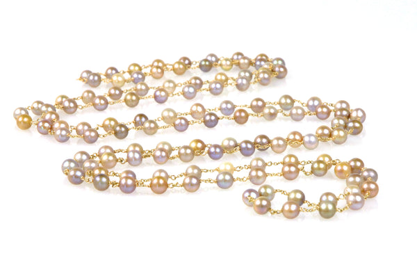 endless earthtone pearl wrap necklace