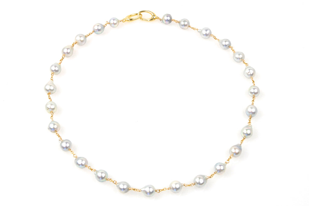 silvery blue akoya pearl wrap necklace