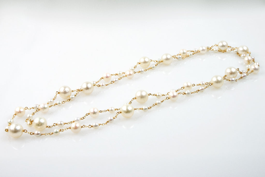 south sea and chinese freshwater pearl graduated rope necklace