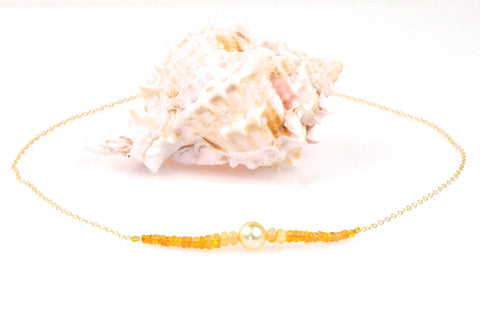 mexican fire opal and south sea pearl chain necklace