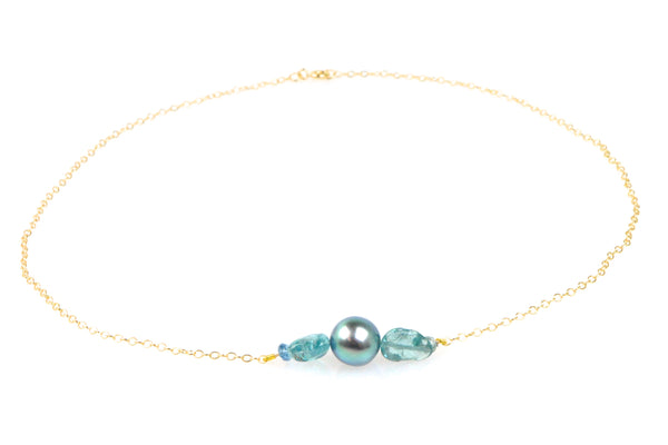 brilliant blues tahitian pearl chain necklace