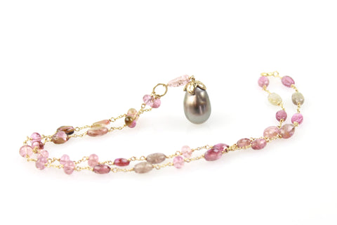 spring tahitian and tourmaline wrap necklace