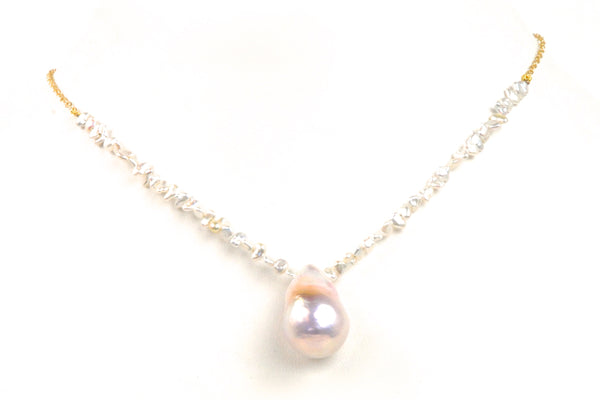 akoya keshi and big drop pearl chain necklace