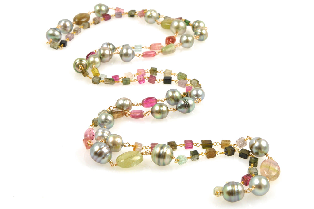 tourmaline and banded tahitian pearl necklace