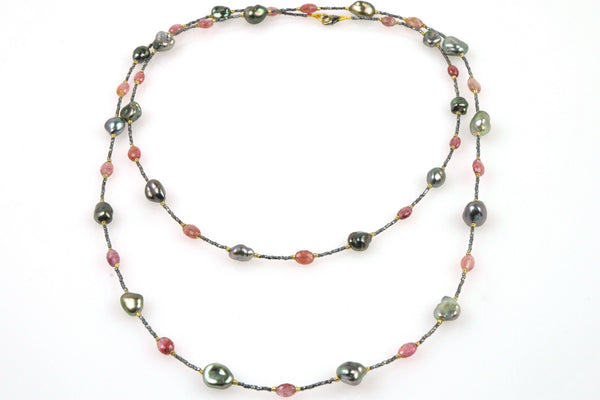 pink tourmaline and tahitian keshi pearl necklace
