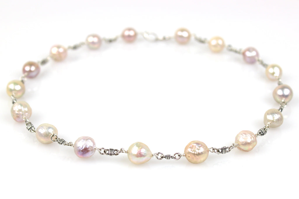 bonded baroque pearl necklace in silver