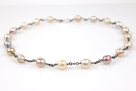 bonded baroque pearl necklace in oxidized sterling silver