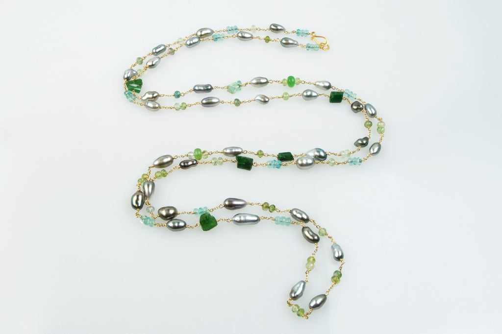 tahitian keshi and green gemstone medley wrap necklace