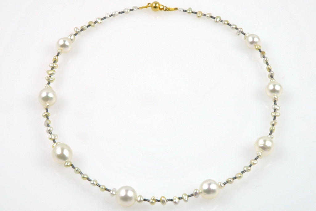 south sea, japan akoya, and silver bead necklace