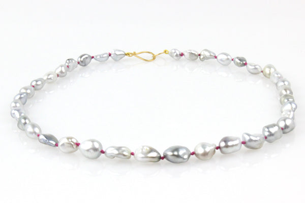 fun in fuchsia tahitian keshi pearl necklace