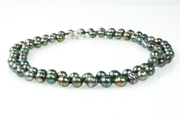 rope of rainbow tahitian circle pearls