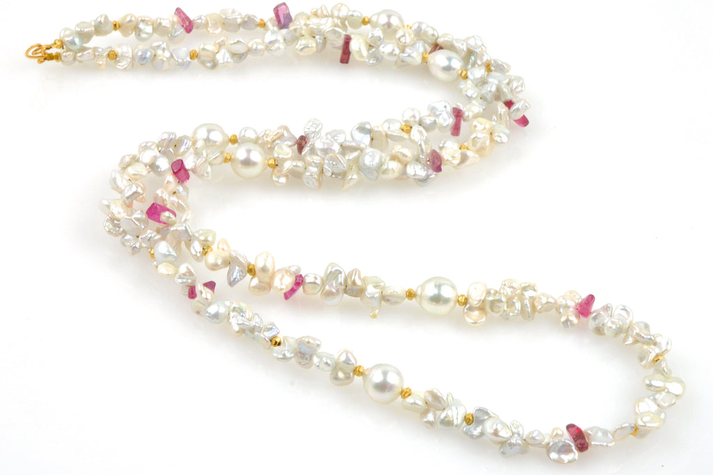blooming plumeria pearl necklace