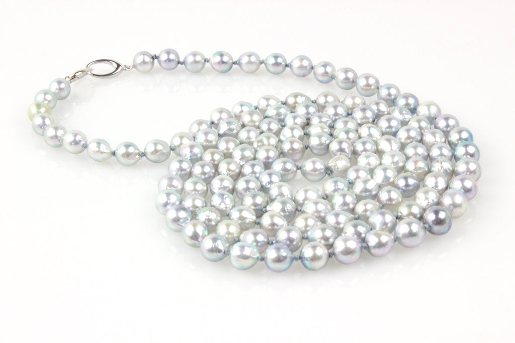 rope of silver blue japan akoya baroque pearls