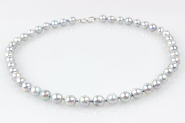 silver blue baroque japan akoya pearl necklace