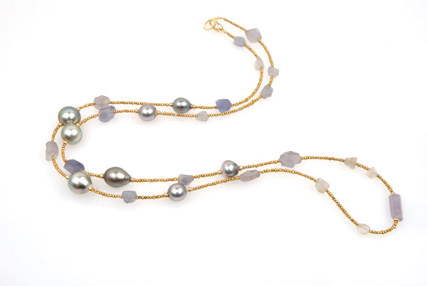 tuscan fluorite, sapphire and pearl rope
