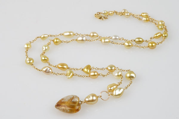 heart of golden keshi pearl necklace