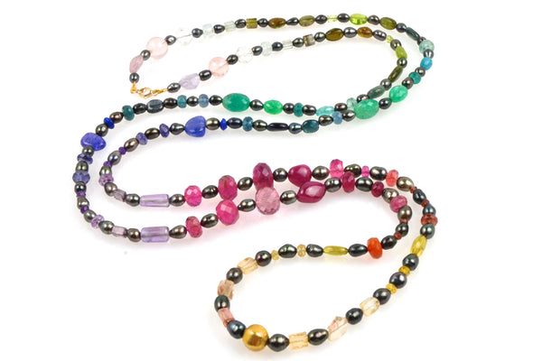 rainbow gem and tahitian keshi joie necklace