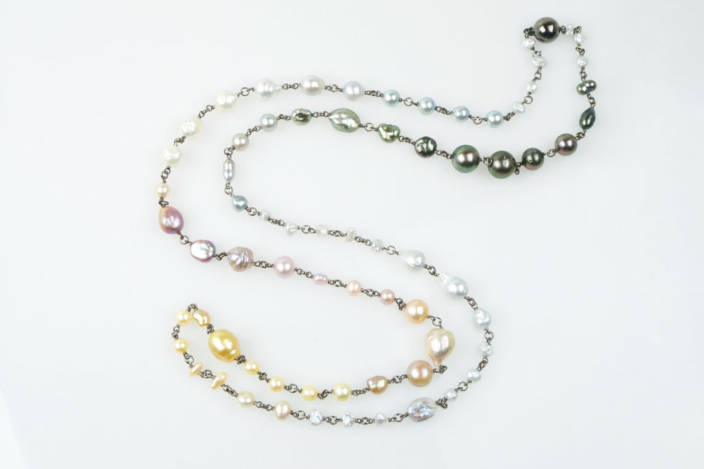 all seasons mixed pearl wrap necklace