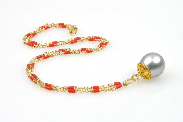 italian coral necklace with tahitian pendant