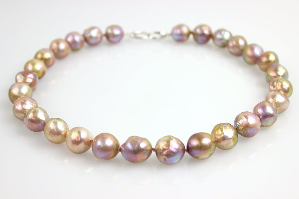 big natural color ripple pearl necklace