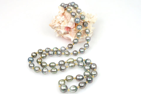 banded tahitian pearl and gold bead rope