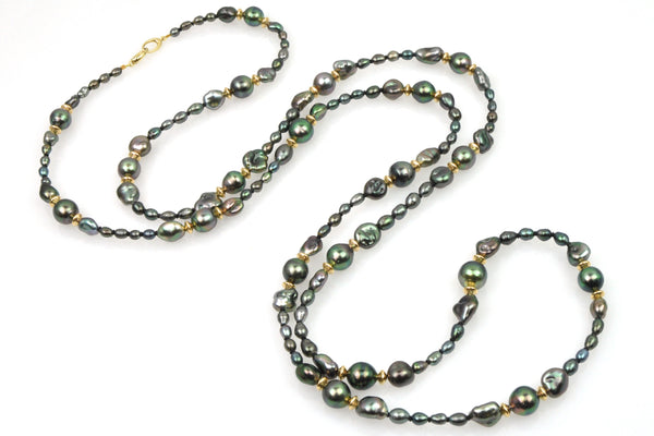 new moon tahitian keshi pearl necklace