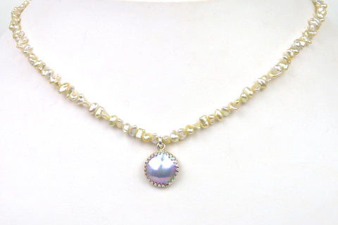 akoya keshi and sea of cortez mabe pearl necklace
