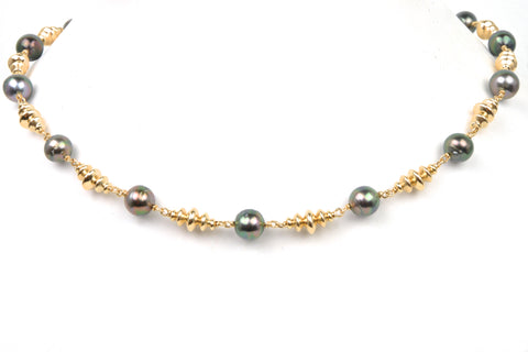 retro bead and tahitian pearl necklace