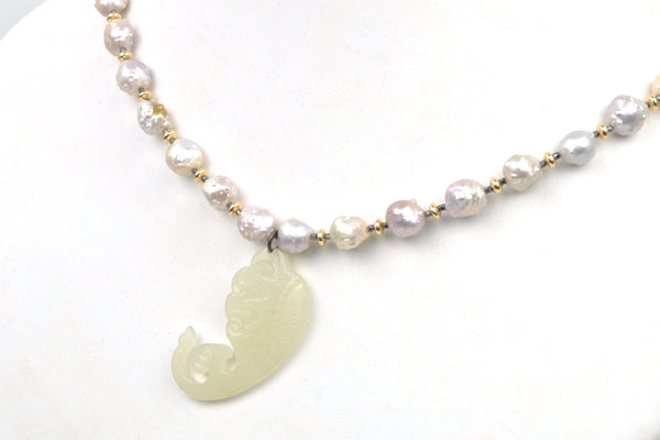 rosebud pearl and antique nephrite necklace