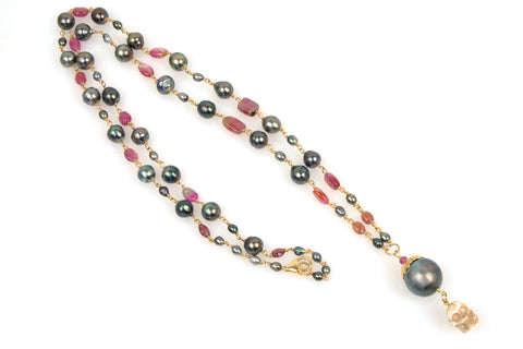 persephone pearl and tourmaline necklace
